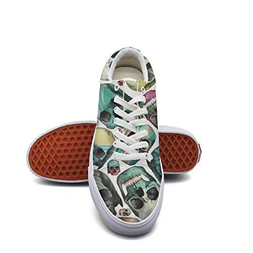 White Womens Dizzy skull Skateboard Shoes Printing Shoe (White Skull Skateboard Shoe)