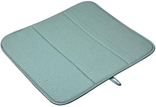 Sinland Microfiber Dish Drying Mat Super Absorbent Dish Drying Rack Pads Kitchen Counter Mat 16Inch X 18Inch Dark Green (Blue Green Dishes)