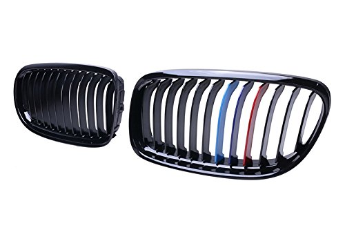 Gloss Black M-Color Front Hood Kidney Grille Grill For 2009-2011 BMW E90 E91 323i 325i 328i 330i 335i LCI Facelift