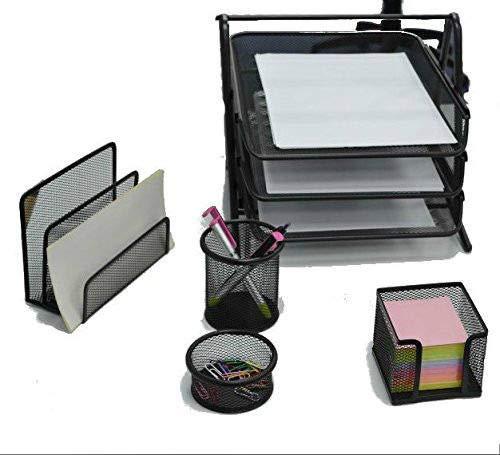 Premium Mesh Office Set von 5 Stück – 2 2 2 3 Ebenen Briefablage, Briefablage, Stiftehalter, Klammern und Notizblockhalter 3 Tier 5 pcs set silber B07KNQ6BTQ | Moderate Kosten  6eb71e