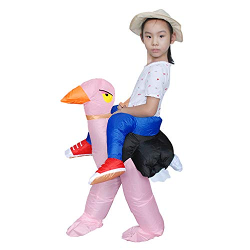 Teen's Inflatable Costume Halloween Carnival Funny Cosplay Toy Riding Ostrich 2'9-3'9 Height Pink
