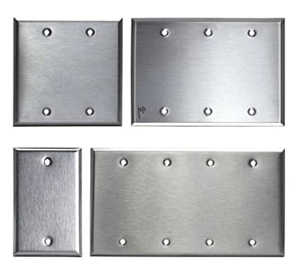 Brushed Stainless Steel Blank Outlet Cover Switch Wall Plates 1 2 3
