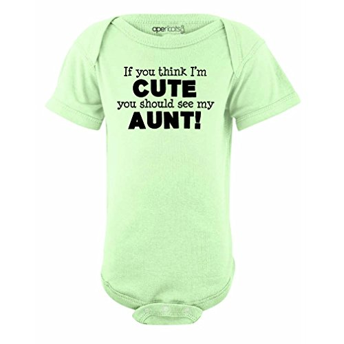 Apericots Original Funny Baby Bodysuit 100% Cotton If You Think I'm Cute See My Aunt
