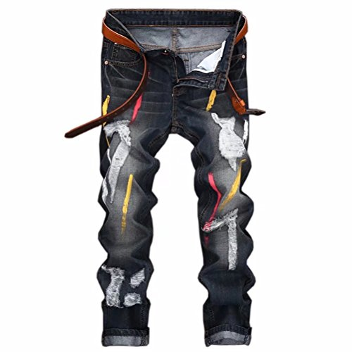 Kmety Men's Straight Leg Slimming Fit Distressed Denim for sale  Delivered anywhere in Canada