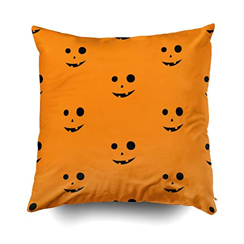 GROOTEY Decor Pillow, Square Pillow Covers with Zip Couch Sofa Décor Scary Faces Halloween Pumpkins 18X18 Throw Cushion]()