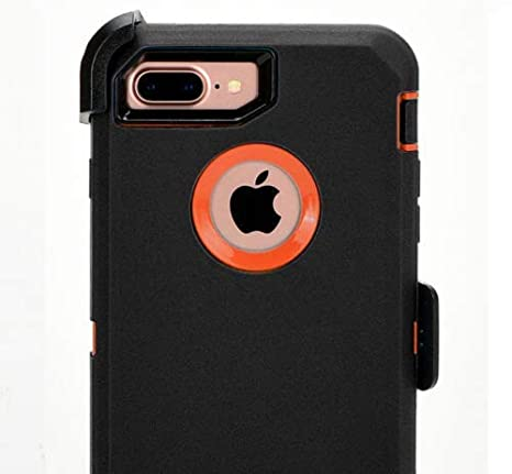 best cheap e2b43 419b7 OtterBox Defender Series Case for iPhone 8 Plus/iPhone 7 Plus and Belt Clip  fits OtterBox with Tempered Glass Screen Protector - Black Orange