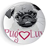 6'' Pug with Plate Stand Pug Love Image Cute Grey Toned Drawing of a Dog Pet Animal Fun Bonding Print