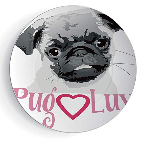 6'' Pug with Plate Stand Pug Love Image Cute Grey Toned Drawing of a Dog Pet Animal Fun Bonding Print by iPrint