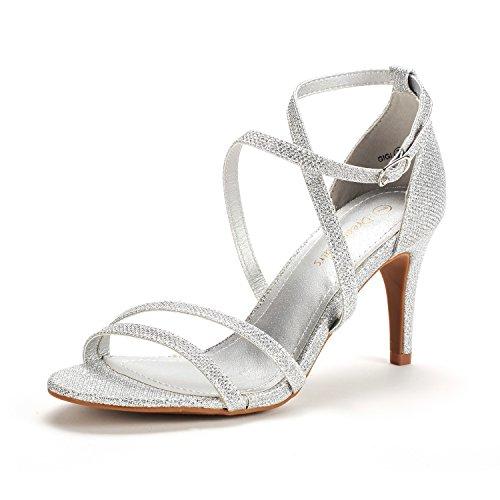 DREAM PAIRS Women's Gigi Silver Glitter Fashion Stilettos Open Toe Pump Heeled Sandals Size 5.5 B(M) US
