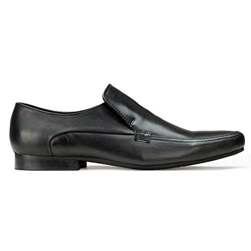 Escaro Men's Leather Formal Slip On Shoe 11 Black by Escaro (Image #2)