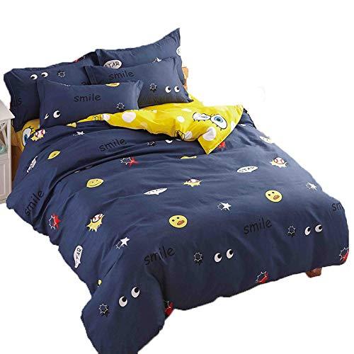 - KFZ Bed Set Children Bedding Duvet Cover Spongebob Forest Dandelion Strawberry Design Flat Sheet Pillowcases No Comforter HDD Twin Size Sheets Set 3pcs/Set Kids(Sponge Bob, Blue, Twin, 58