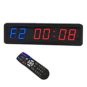 LED Programmable Crossfit Interval Timer Wall Clock w/Remote for Tabata Fitness 1.8inch (Blue and red, 1.8inch)