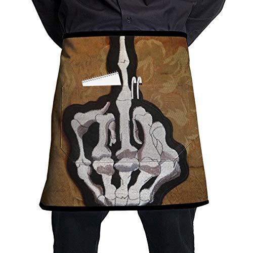 Kjiurhfyheuij Half Short Aprons Skull Middle Finger Waist Apron with Pockets Kitchen Restaurant for Women Men Server ()