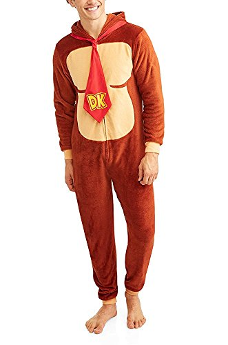 Super Mario Men's Faux Fur Licensed Sleepwear Adult Costume Union Suit Pajama (Large, Donkey Kong)