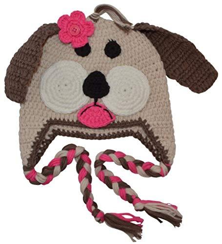 (BePe Baby Infant, Toddler, Little Kids Crochet Character Beanie Brim Tassel Photo Prop Hat - Puppy - Beige/Pink - Medium (1-2 Years) )