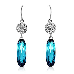 ZMC Women's Rhodium Plated Alloy Swarovski and Austrian Crystals Dangle Earrings, Silver/Colorful Blue