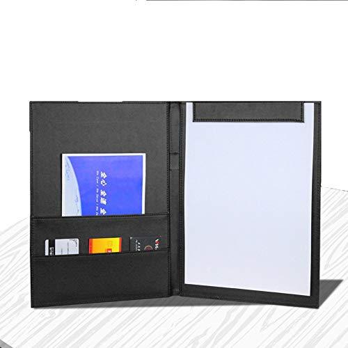 PU Leather Clipboard Folder A4 Presentation Book Folder Conference Folder Writing Pad Magnetic Binder Documents Holder Files Cards Organizer Refillable Filing Folder for Business Office