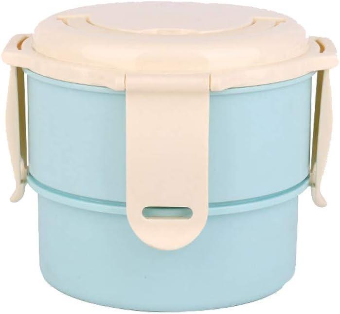 HHFZH Recipiente de Comida de Doble Capa Caja de Bento respetuosa del Medio Ambiente Microondas Contenedor de Comida densa para la Oficina,Blue