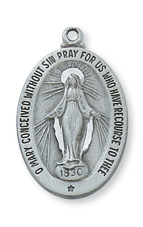 1 X Pewter Miraculous Medal on 18