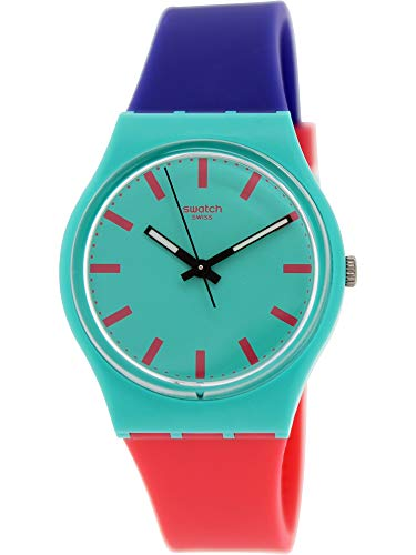 Swatch Shunbukin Teal Dial Plastic Silicone Quartz Ladies Watch - Skin Collection Swatch Watch