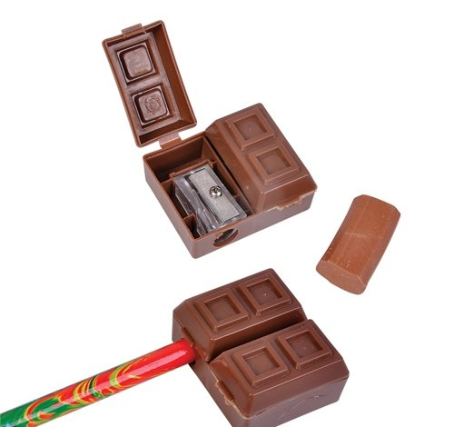 1.5'' CHOCOLATE SHARPENER ERASER SET, Case of 12