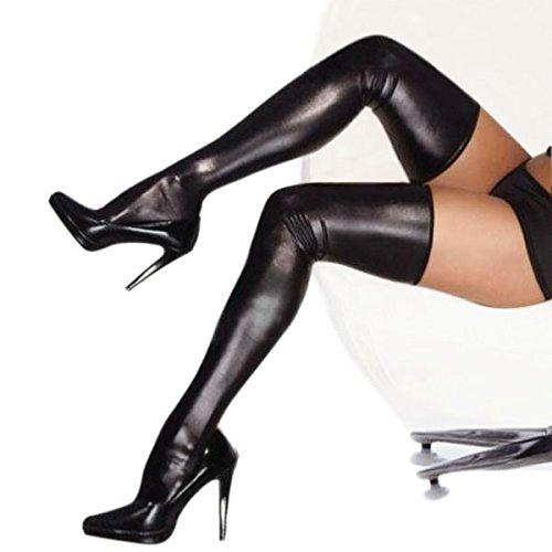 f043dd1aada33 FEESHOW Women s Sexy Spandex Latex Rubber Elastic Wet Look Thigh High  Stockings