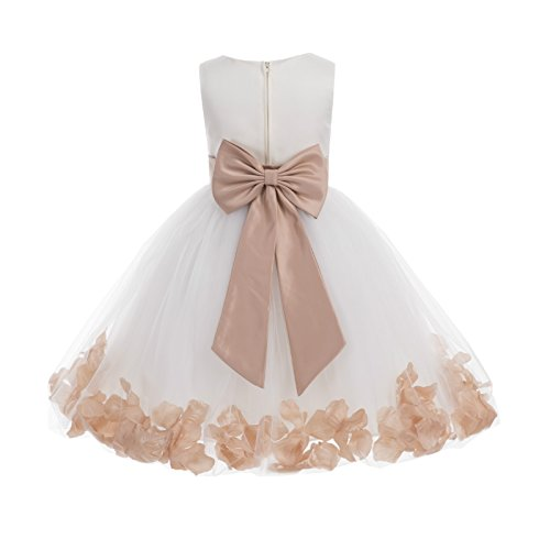 Wedding Pageant Flower Petals Girl Ivory Dress with Bow Tie Sash 302a 10]()