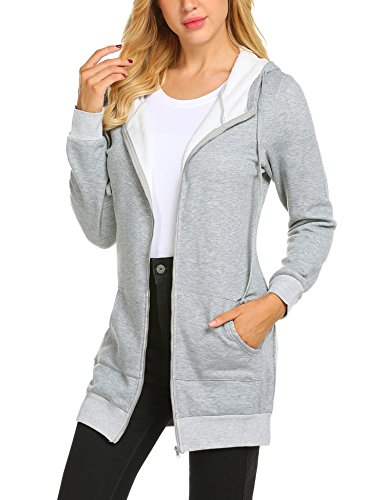 Crewneck Long Raglan Sleeve (Zeagoo Women's Long Sleeve Raglan Crewneck Tunic Sweatshirt & Hoodie with Fleece,Gray,XX-Large)