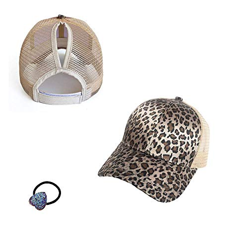 (HADM Faux Suede Leopard Print Fabric Ponytail Baseball Cap Hat Ponycap Messy Bun Mesh Trucker Hats for Women + Head Rope)