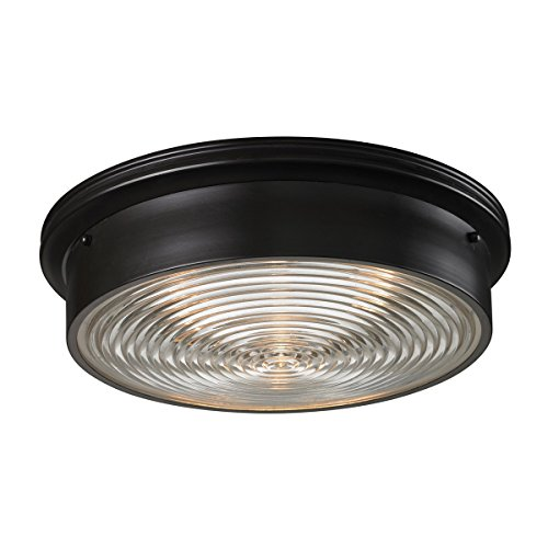- Elk 11453/3 3-Light Flush Mount with Clear Ribbed Glass Shade, 15 by 5-Inch, Oiled Bronze Finish
