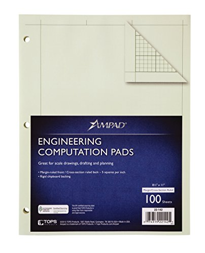 Ampad Evidence Engineering Pad, 100 Sheets, 5 Squares Per Inch, Green Tint, 8 1/2