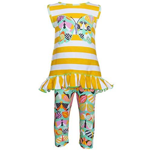 AnnLoren Toddler Girl 4-5T Spring Yellow Butterfly Hi Low Tunic & Legging Capri