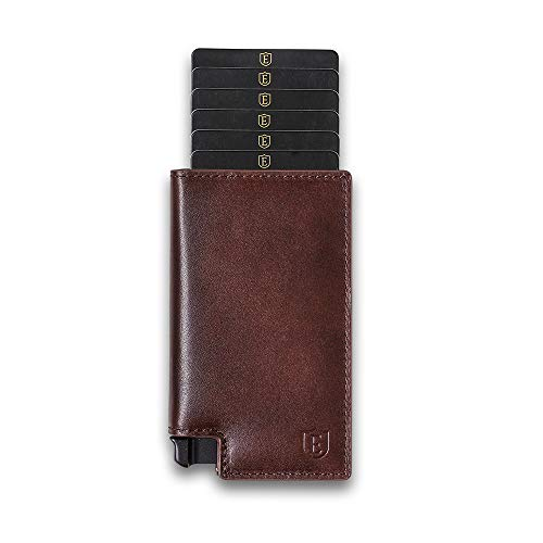 Ekster: Parliament 3.0 - Slim Leather Wallet - RFID Blocking - Quick Card Access, Brown, ()