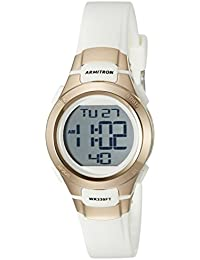 Armitron Sport Women's 45/7012RSG Rose Gold-Tone Accented Digital Chronograph White Resin Strap Watch