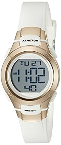 Armitron Sport Women's 45/7012RSG Rose Gold-Tone Accented Digital Chronograph White Resin Strap (Sport Watches Womens White)