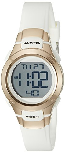 Armitron Sport Women's 45/7012RSG Rose Gold-Tone Accented Digital Chronograph White Resin Strap (Digital Resin Strap Watch)