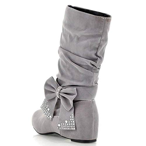 Wedges Low Slouch Pull Women Grey On Coolcept Bow Boots qgCwEaAx6