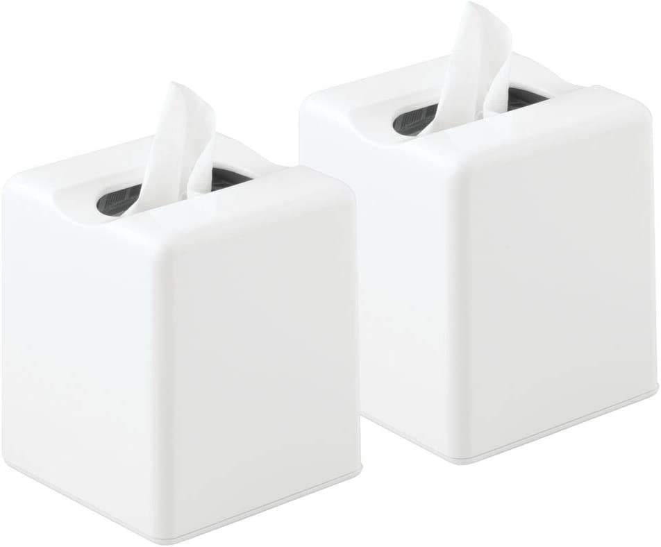 mDesign Modern Square Plastic Paper Facial Tissue Box Cover Holder for Bathroom Vanity Countertops, Bedroom Dressers, Night Stands, Desks and Tables - 2 Pack - White: Home & Kitchen
