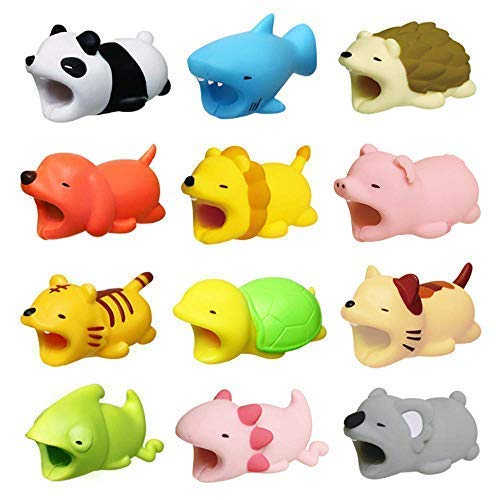 12 Pieces Cable Animal Bites Cute Cable Protector for iPhone Cable Animal Bite Data Line Cord Saver Cable buddies (Cover Charger Usb)