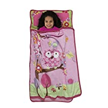 Baby Boom Woodland Kids Nap Mat Set – Includes Pillow and Fleece Blanket – Cute Owl Design - Great for Girls Napping during Daycare, Preschool, or Kindergarten - Fits Toddlers and Young Children