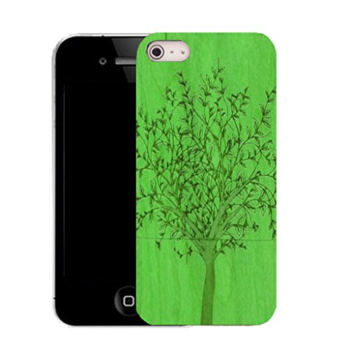 Mobile Case Mate IPhone 4s clip on Silicone Coque couverture case cover Pare-chocs + STYLET - green grain tree pattern (SILICON)