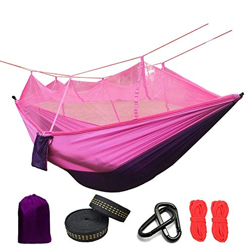 Hot Heaven Ultralight Mosquito Net Parachute Hammock with Anti-Mosquito Bites for Outdoor Camping Tent Using Sleeping,Purple and Pink (Pink Purple Tent)