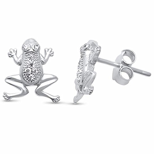 9mm Micro Pave Frog Studs Earrings Cubic Zirconia .925 Sterling Silver Push Back Girls ()