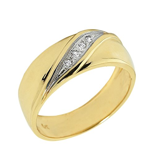 Men's 10k Yellow Gold 4-Stone Diamond Wedding Band (Size 13) by Men's Fine Jewelry