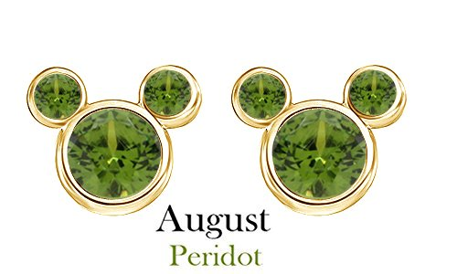 - August Birthstone Peridot Mickey Mouse Stud Earrings In 14k Yellow Gold Over Sterling Silver