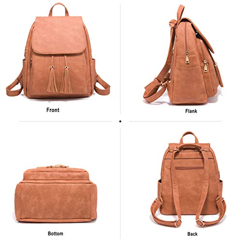 Small Sale Backpacks Leather Tisdaini Women Orange Bags Girls Backpack Soft Travel for 6B6Tqt