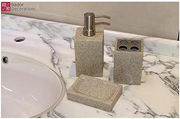 3 tlg. Badezimmer Set Bad Set Zahnbürstenhalter Seifenteller ...
