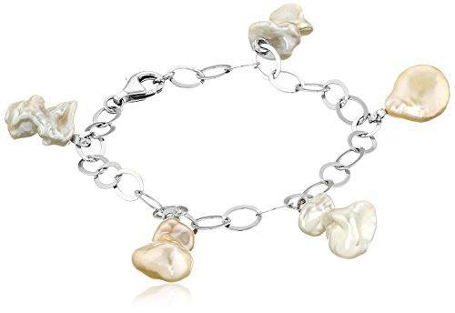 - Sterling Silver Multi-Colored Freshwater Keshi Cultured Pearl Cubic Zirconia Bracelet, 7.5