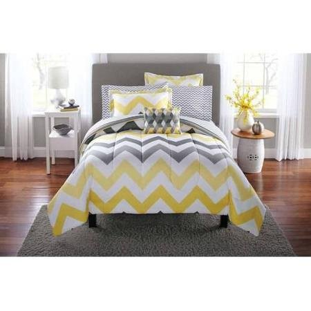 Popular 8-Piece Mainstays Yellow Grey Chevron Bed in a Bag Bedding Comforter Set, Full