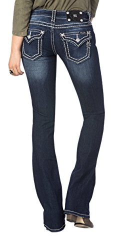 Miss Me Loose Saddle Stitch Border Midrise Bootcut Jeans - up To Size 32,33,34 (33)